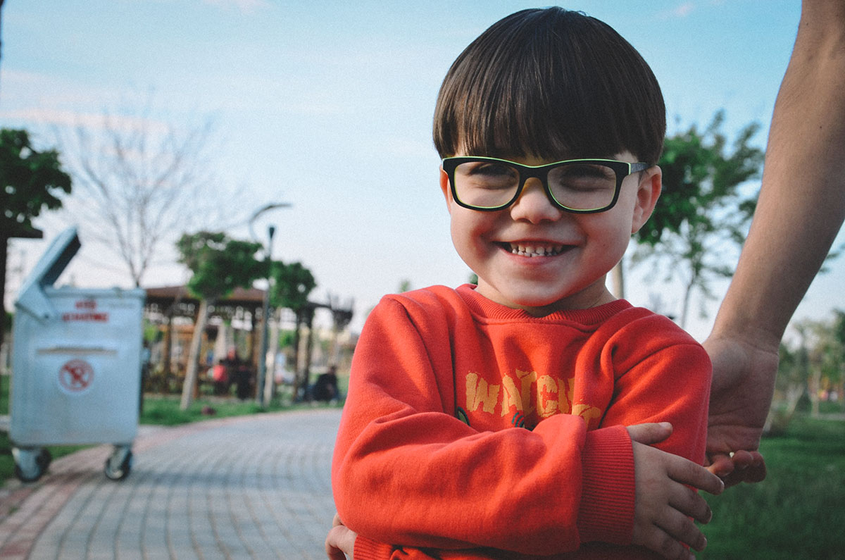 Happy child wearing eyeglasses